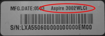 acer laptop model number